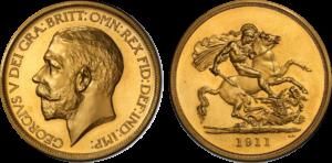 1911年ジョージ5世5ポンド金貨